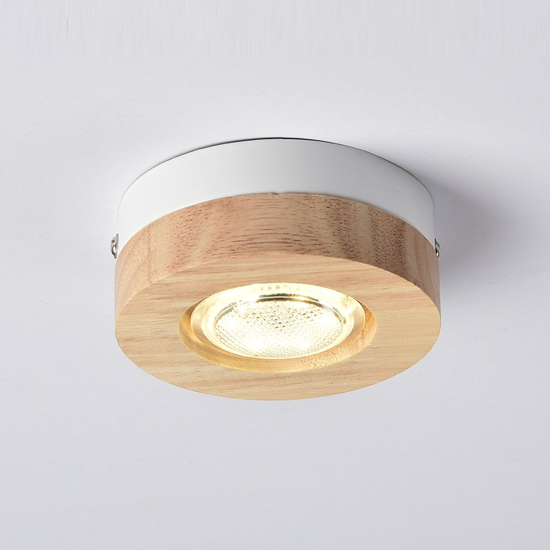 LukLoy Modern LED Ceiling Lights Wooden Ceiling Lamp For Corridor Square Round Wood Kitchen Lights Small Surface Mounted Lamp simple style ceiling light wooden porch lamp square ceiling lamp modern single head decorative lamp for balcony corridor study