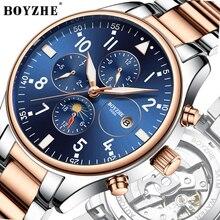 BOYZHE Watch Men Luxury Waterproof Multi-functional Mechanical Movement Automatic Steel Fashion Business Watches Clock
