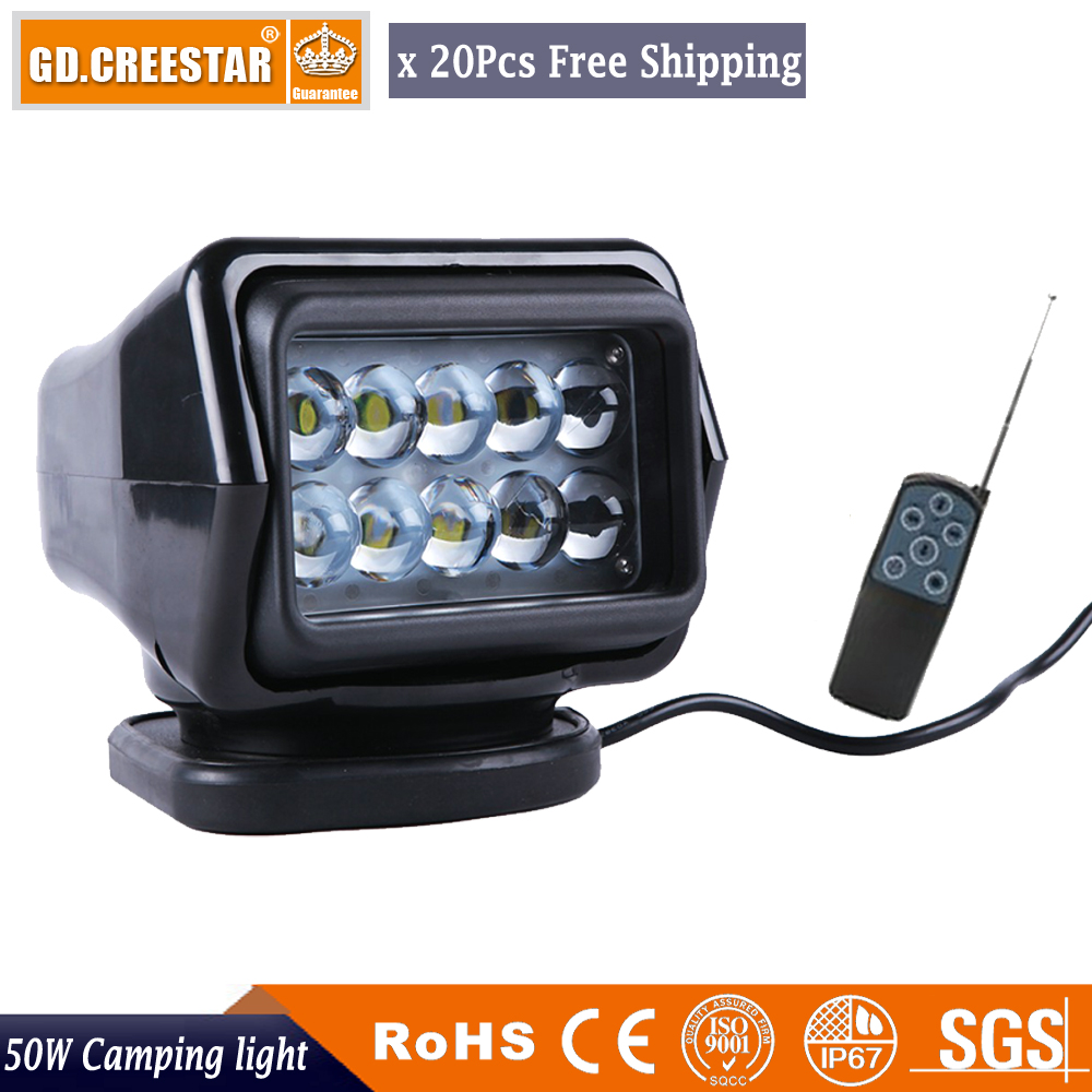 20pcs Factory wholesale 360Degree 50W 7inch LED Remote Control Searching lamp Marine Spot Work Light Boat Spotlights with Magnet