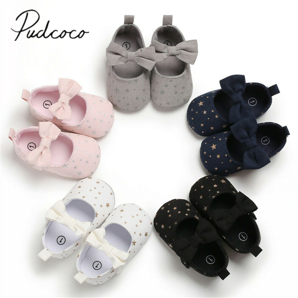 Crib-Shoes Sneakers Prewalker Toddler Baby Stars Girl New Bowknot Print Soft Sole