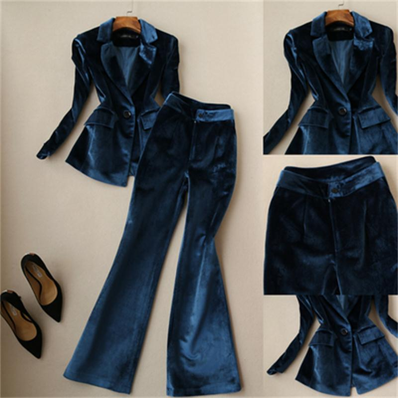 Fashion Pants Suit Female Fall / Winter New High Quality Casual Gold Velvet Suit Female+wide Leg Pants Two-piece OL Suit Women