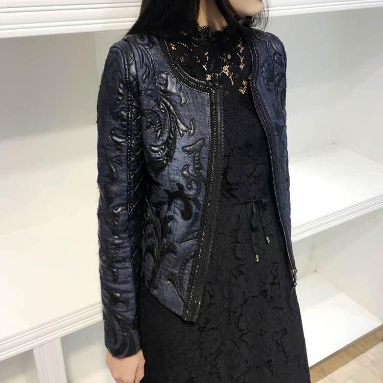 De 2018 Bleu Automne Couture Court Pu cou Veste Base O Lavé En Mince Cuir Vintage Rétro Femmes Jeans Manteau rrU4xdwZ