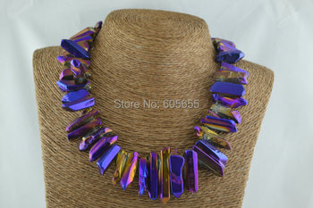 Purple Titanium Polished Crystal Stick Point Beads Graduated Necklace Silver Lobster Clasps Fashion Woman Jewelry