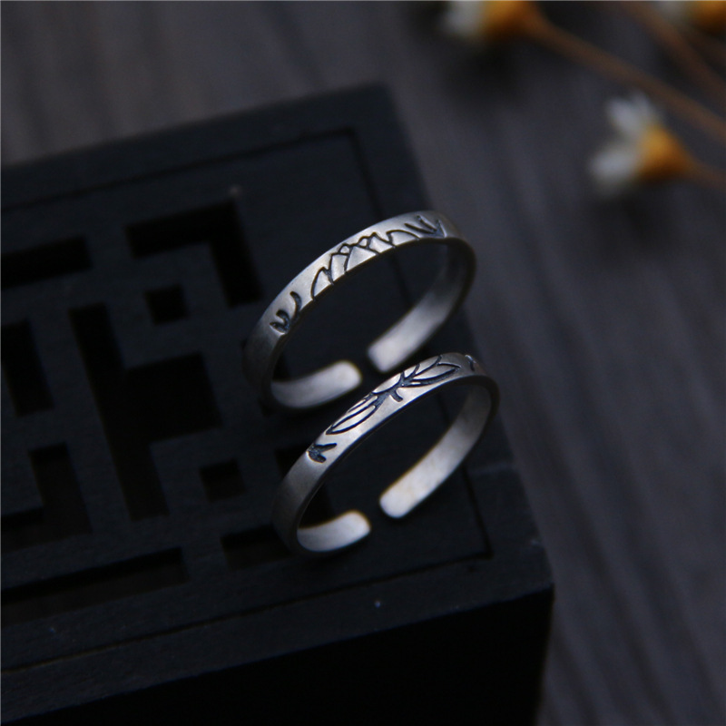 C&R 925 Sterling Silver Rings for Women Carved lotus female Thai Silver 2.5mm width opening ring Fine Jewelry Size 5-7C&R 925 Sterling Silver Rings for Women Carved lotus female Thai Silver 2.5mm width opening ring Fine Jewelry Size 5-7