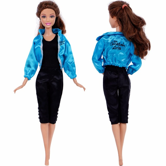 c39e9d9946 Handmade Casual Daily Black Jumpsuit Long Sleeves Blue Outfit Sport Jacket  Coat Clothes For Barbie Doll