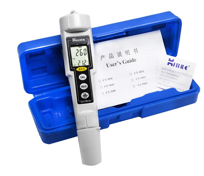 Compteur de sel numérique LCD 0-9999 mg/L Type de stylo de poche testeur de salinité étanche qualité de l'eau valeur du sel moniteur de plage de mesure