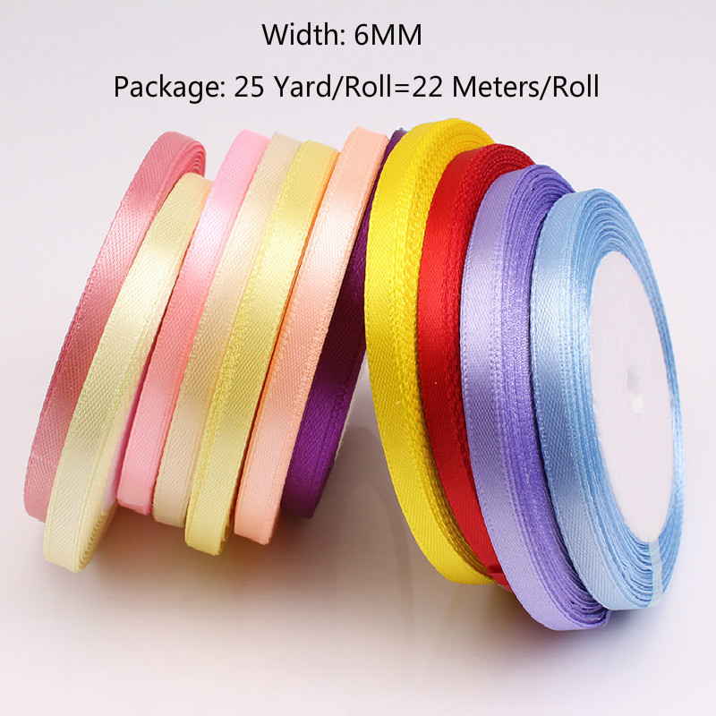 (25 Yards/roll) 6mm Ribbons Multicolor Solid Color Satin Ribbons Wedding Decorative Gift Box Wrapping Belt DIY Crafts 22 Meters