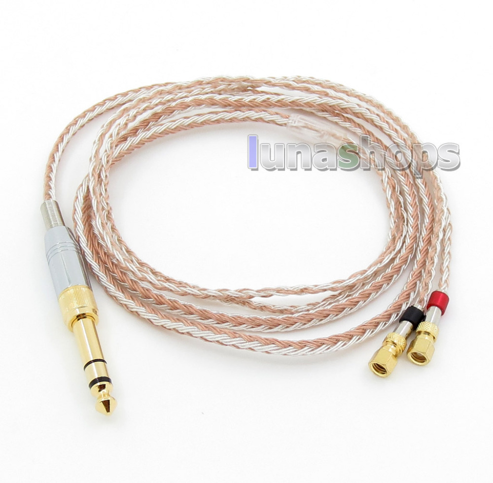 купить 6.5mm 3.5mm 16 Cores OCC Silver Plated Mixed Headphone Cable For HiFiMan HE400 HE5 HE6 HE300 HE560 HE4 HE500 HE6 LN005798 недорого
