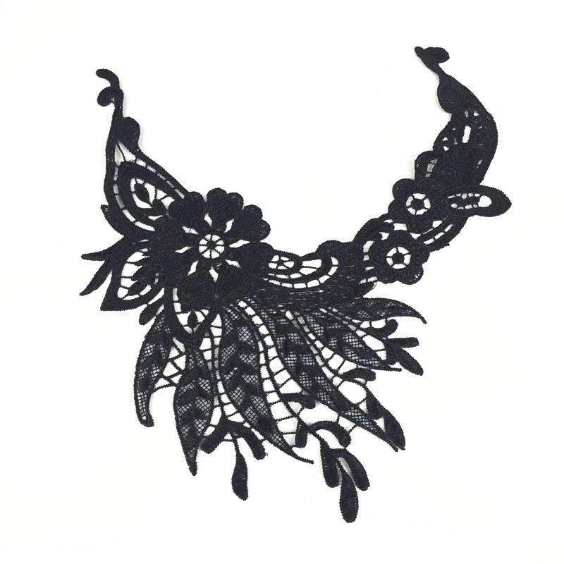 ̿̿̿(•̪ )Nueva venta caliente negro flor Venecia encaje vendimia ...