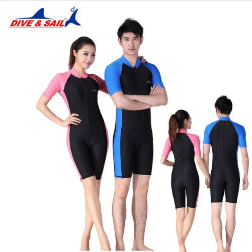 Wetsuit Wet Suits Diving Skin For Men Women One-piece 4 Color Short Sleeve Jump Suit S-2XL Rash Guards Beach Surf Swimwear