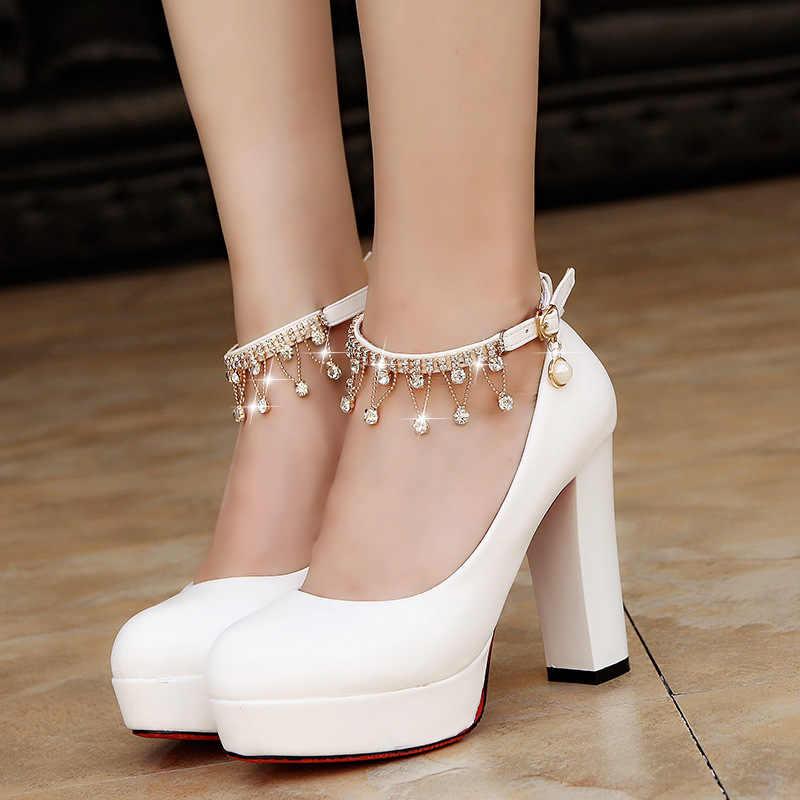 נשים מתוק כלה נעלי סופר גבוה עקבים משאבות מחרוזת חרוז קרסול רצועת פלטפורמת משאבת שמלת נעלי חתונה נעליים
