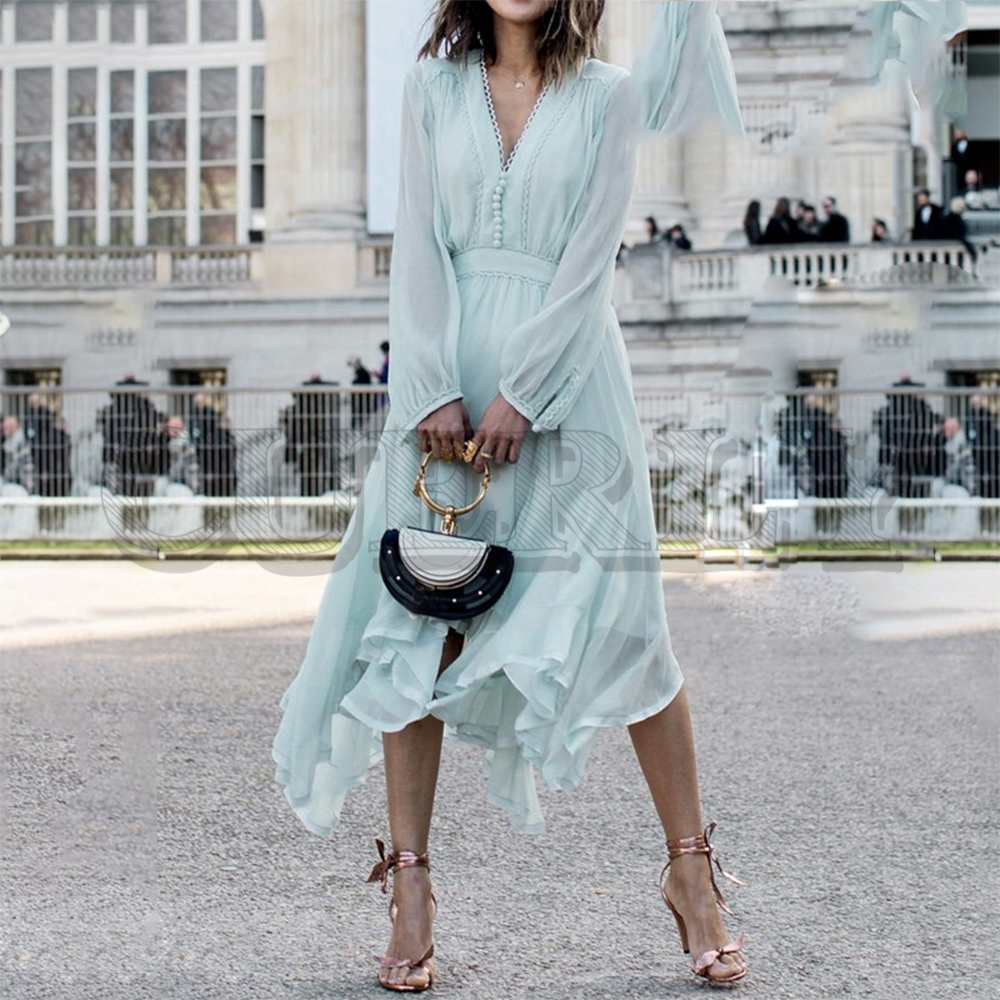 Jolie robe vert menthe élégante femmes à manches longues en mousseline de soie robes d'été style coréen décontracté pompon grande taille vestidos 2019