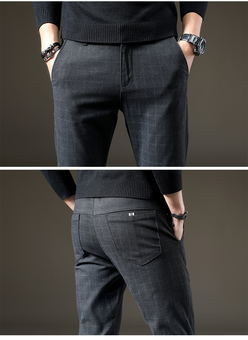 HTB1oODiKkSWBuNjSszdq6zeSpXa1 jantour Brand Pants Men Casual Elastic Long Trousers Male Cotton lattice straight gray Work Pant men's autumn Large size 28-38