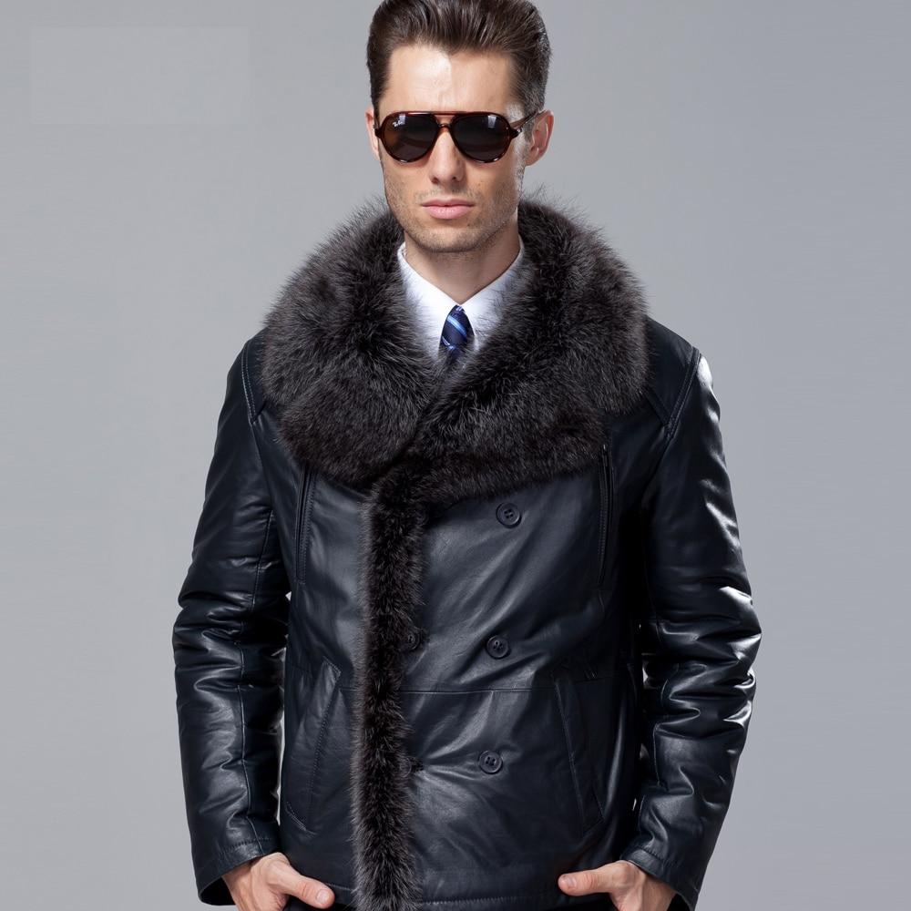 New Winter Fashion Mens Sheepskin Wool Coat Genuine Cowhide Leather Big Fur for Male Double Breasted Dark Blue Plus Size 3xl 4xl