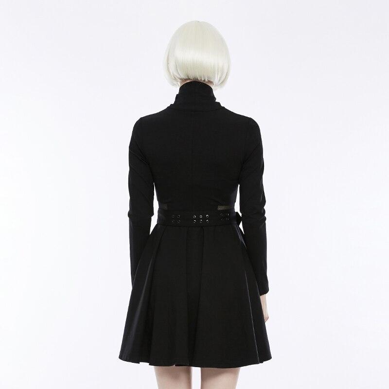 PUNK RAVE vrouwen Gothic Dagelijks Zwarte Lange Mouw Knappe Geplooide Jurk Punk Mode Mesh Taille Spliced Vrouwen Jurk Streetwear-in Jurken van Dames Kleding op  Groep 3