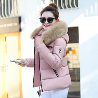 2017 Autumn Winter New Women Short Hooded Zipper Parkas Coats Female Feathers Collar Slim Cotton Padded
