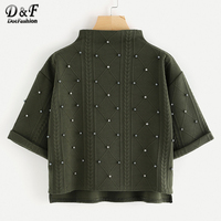 Dotfashion Mock Neck Beading Embossed High Low Sweatshirt Woman 2017 Green Cute Top Autumn Half Sleeve