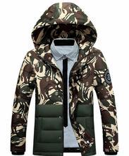 Новый Зимнее Пальто Мужчины С Капюшоном Камуфляж Пальто мужские Развивать Нравственность Хлопка-ватник