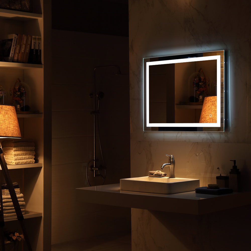 Square Wall Mount Bathroom Makeup Mirror Silver Aluminum Touch Screen LED Bathroom Vanity Mirror Lights with Magnifying Mirror 2