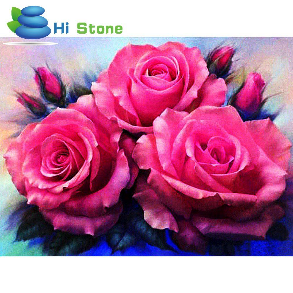 Гистонов 5D полный алмазов Вышивка, цветы, розовый, красный, алмаз живопись, вышивка крестом, 3D, алмазная мозаика, рукоделие, ремесла, подарок ...