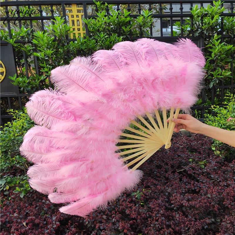 YOYUE 15 Bone Ostrich Feathers Fan Halloween Party Wedding  Celebration Belly Dance Show DIY Decorative Pink Feathers FanFeather