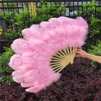 YOYUE 15 Bone Ostrich Feathers Fan Halloween Party Wedding Celebration Belly Dance Show DIY Decorative Pink Feathers Fan