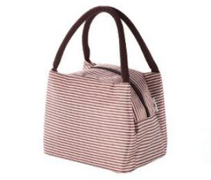 Fashion Women Portable Lunch Bag Canvas Stripe Bags Thermal Food Picnic Lunch Bags Kids Lunch Box Bag Tote