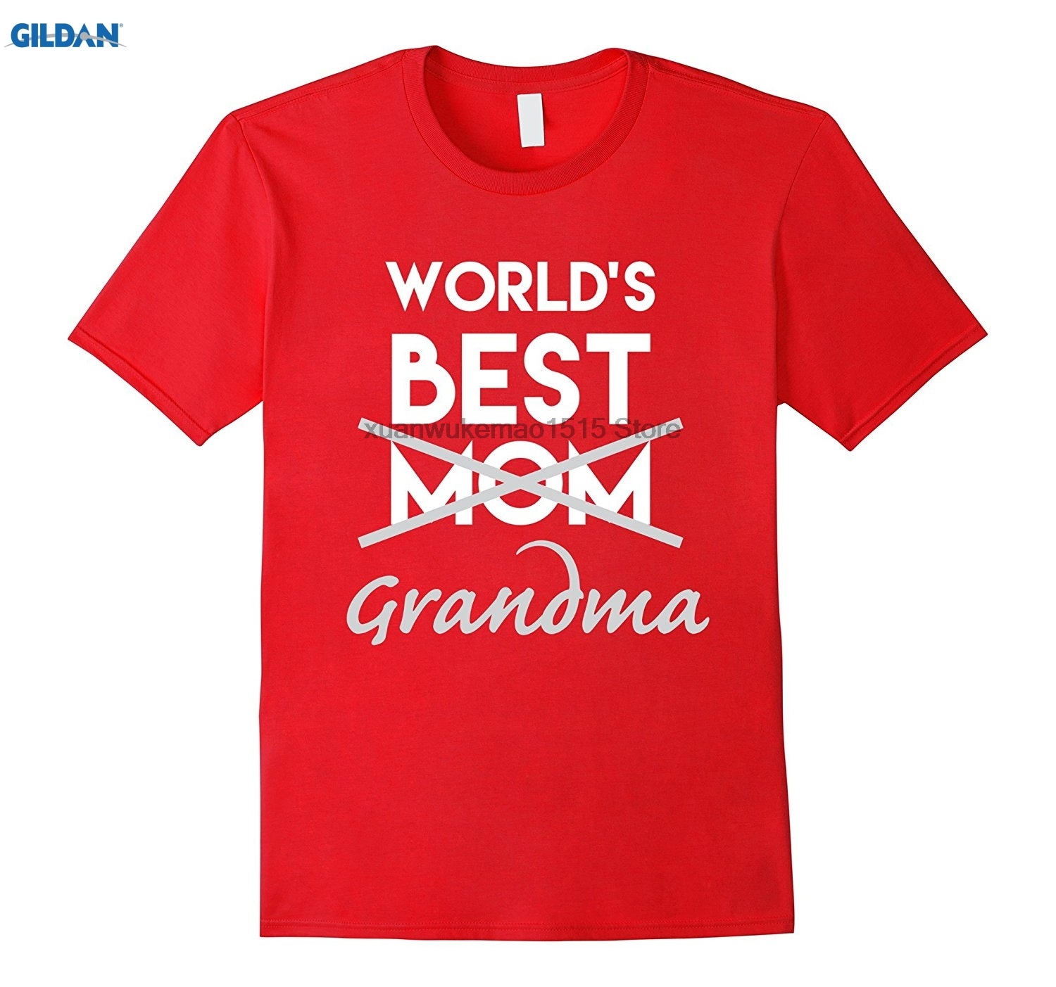 GILDAN 100% Cotton O-neck printed T-shirt Worlds Best Mom Grandma Shirt Funny Pregnancy  ...