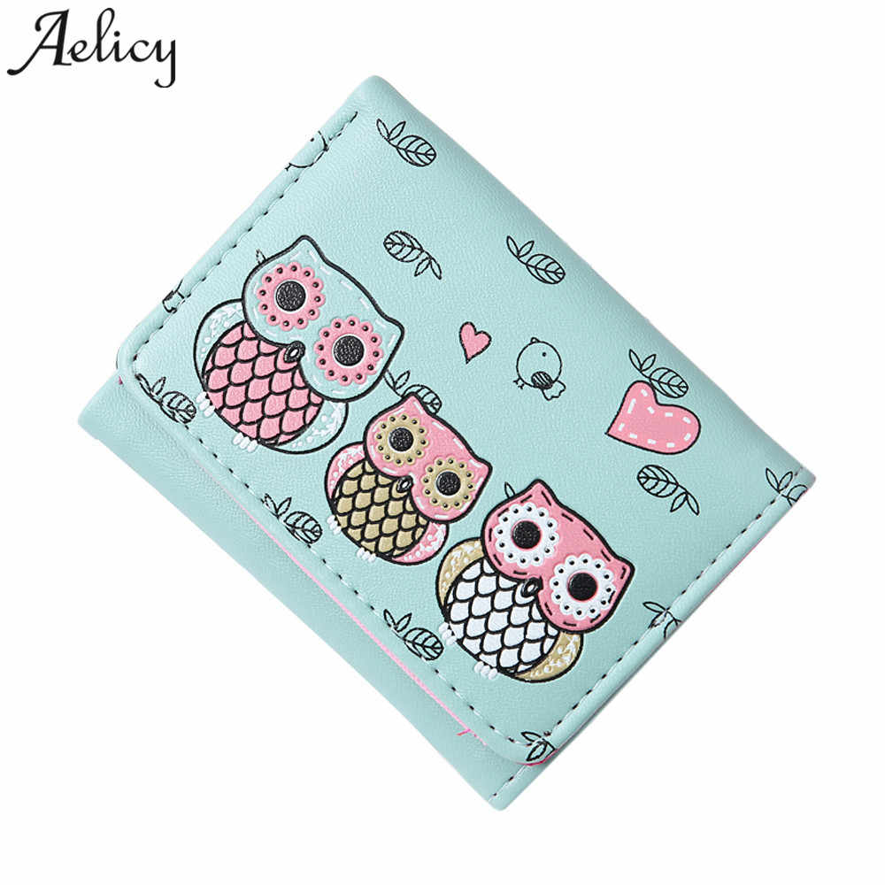 Aelicy 2018 Hot Fashion Women's Wallet Girls Owl Short Wallet Simple Retro Printing Wallet Coin Purse Card Holders