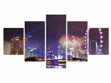 5 Pieces Abstract Canvas Painting Modern Colorful Fireworks Combined Wall Art Picture Home Decor Framed