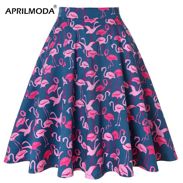 4ff834048 Cotton Women Retro Pleated Skirts 50s Kawai Vintage Rockabilly Swing  Flamingo Printed High Waist Casual Tutu Summer Skater Skirt