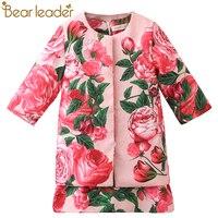 الدب الزعيم الفتيات الملابس يحدد 2017 ماركة الملابس مجموعات روز الزهور الطباعة المعاطف + بالأزهار اللباس 2 قطع ل الفتيات الملابس