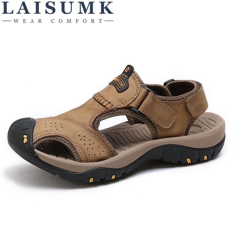 LAISUMK Men Casual Breathable Genuine Leather Summer Beach Sandals Male Sandalias Hombre Sandalia Masculina Sandale Homme Sandal