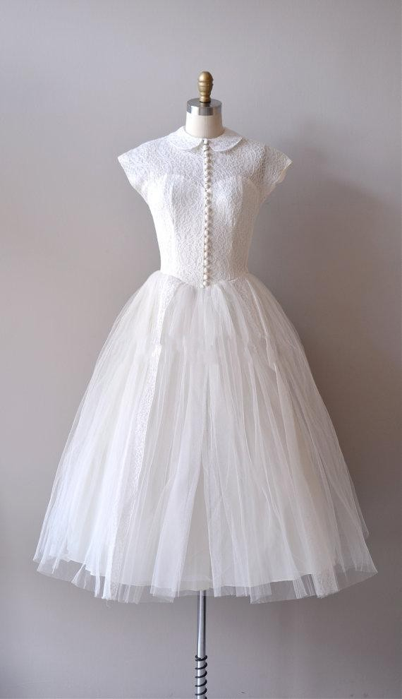 Vintage Reserved Lace 1950s Short Wedding Dresses Sheer Peter Pan ...