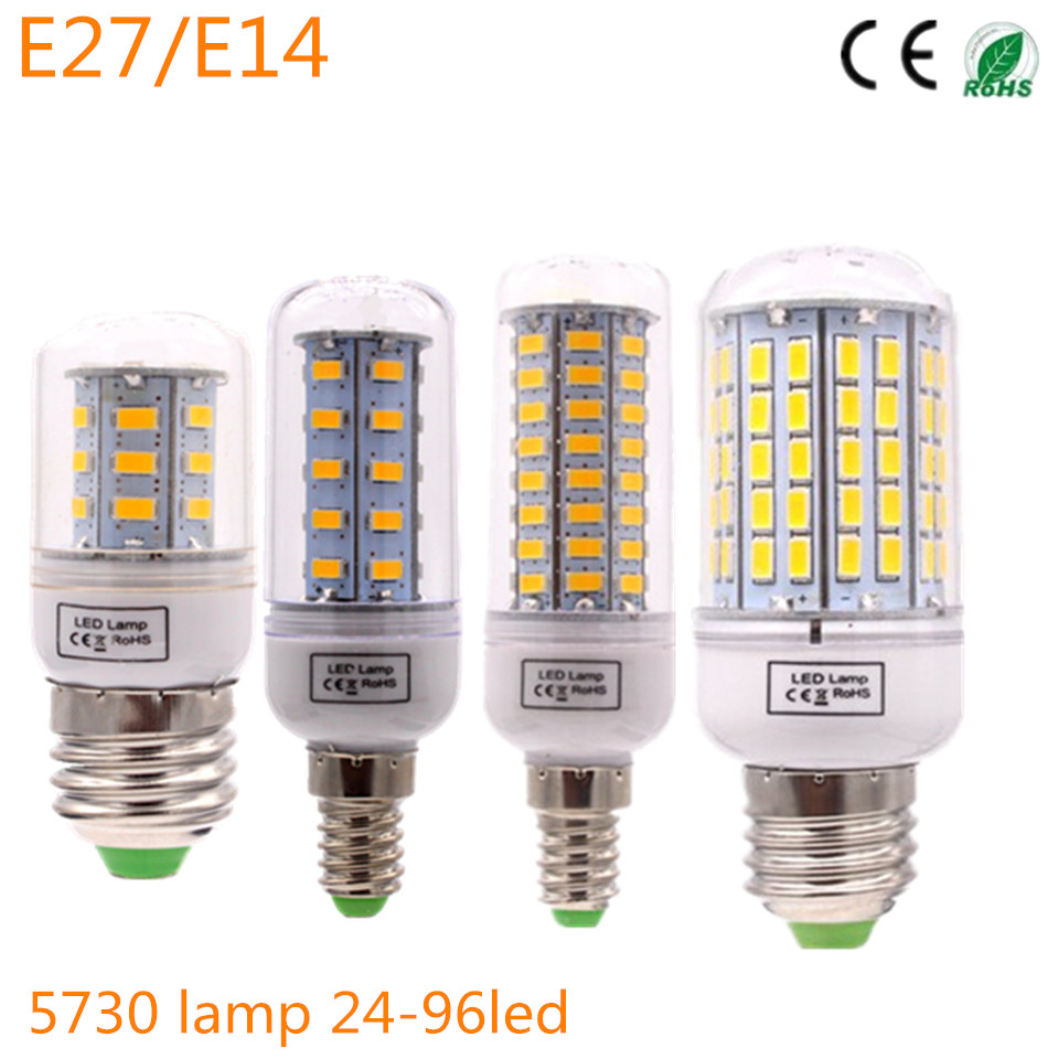 LED lamp Corn Bulb Candle light E27 E14 SMD 5730 lamparas 24 72 96Leds Lampada E27 220V Ampoule Candle Luz high power 12v led bulb smd 5730 portable led lamp outdoor camp tent night fishing hanging light lamparas 3w 5w 7w 9w 12w