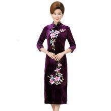 Woman Curvy Velvet Dresses Oriental Women Elegant Flower Cheongsam Dress Mandarin Collar Ethnical Robe Femme Side Slit Dress Red