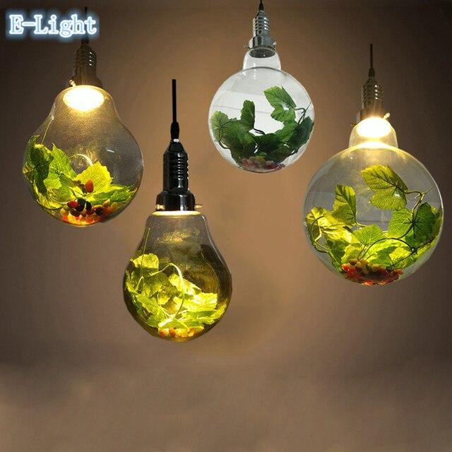 Modern Copper Ring Led Pendant Lighting 10758 Shipping: Plant Pendant Light Copper Glass Bulb Restaurant Pendant