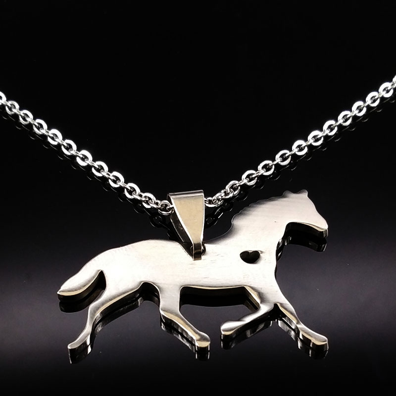 2018 Fashion Horse Stainless Steel Necklaces Silver Color Chain Choker Necklace Jewelry Women collares N74203