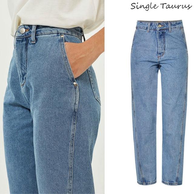 f3f3b07b6 Super moda Pantalones de pierna ancha de las mujeres de cintura alta Lavado  especial cultivo personalidad novio Estilo Vintage Jeans para mujer 2019