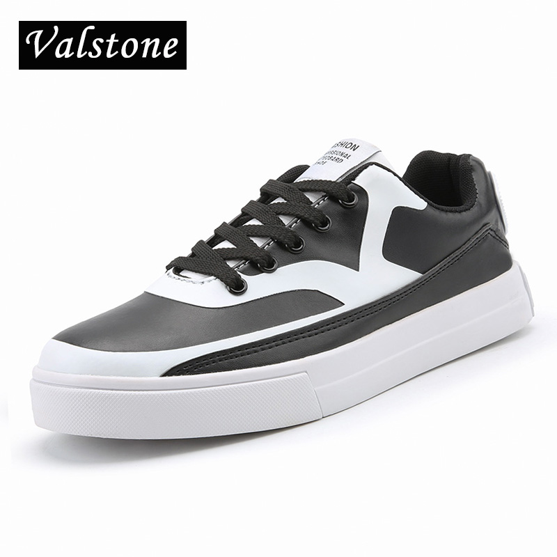 Valstone 2018 Men Quality Casual Leather shoes Spring autumn flats fashion lace-up sneakers lovers Vulcanized shoes sizes 36,46 spring autumn casual men s shoes fashion breathable white shoes men flat youth trendy sneakers