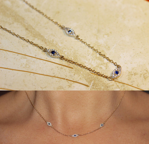 Image 4 - 2018 Fine silver jewelry minimal delicate cz Turkish evil eye charm dainty choker collarbone adorable women girl chain necklace-in Chain Necklaces from Jewelry & Accessories