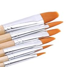 5 teile/satz Holzgriff Aquarell Pinsel Stift Verschiedenen Form Runde Spitz Tipp Nylon Haar Malerei Pinsel Set Kunst