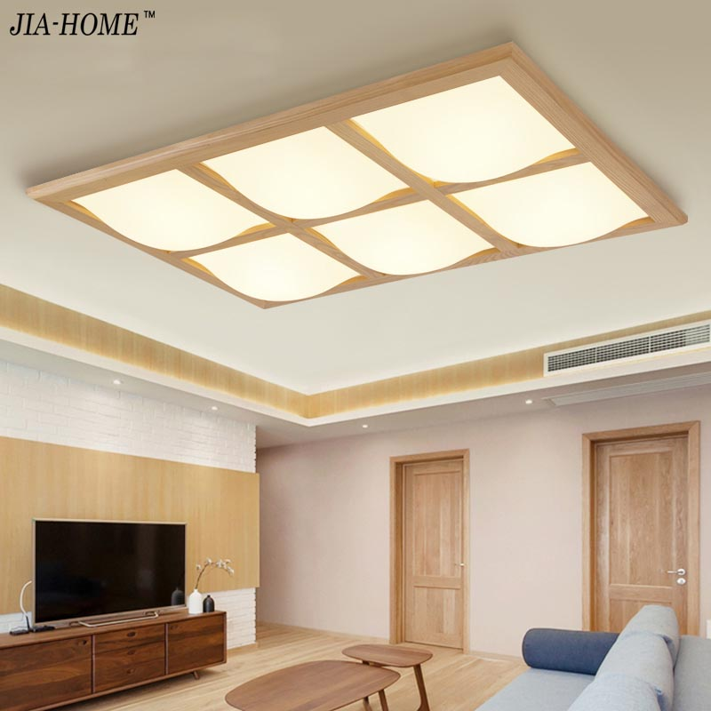 Square Wooden Ceiling Lights with remote control or switch led lamp ceiling flush mount noverlty home decoration luminaire