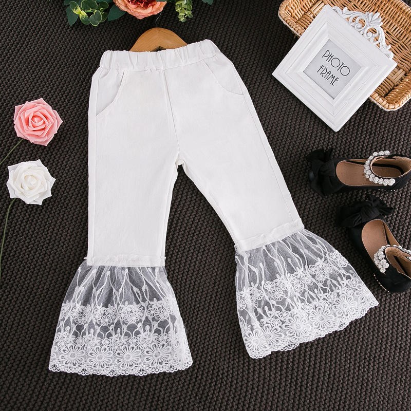 61b11bff2d6eb Aliexpress.com : Buy 2017 spring&summer trouser girls lace kids pants for  girl cotton baby girls clothes flare leggings children for girs party from  ...