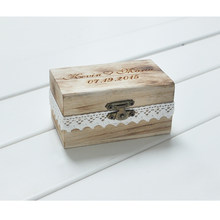 Personalized Gift Rustic Wedding Ring Bearer Box Custom Your Names and Date Engrave Wood Wedding Ring Box(China)