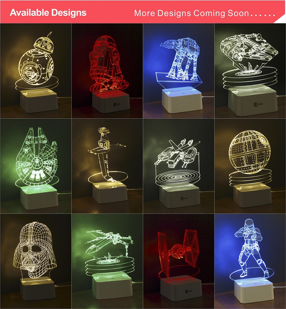 CNHIDEE 3D Visual Led Night Lights for Kids Robort R2 Touch Table Lampara as Besides Lampe for Star war Fans 22