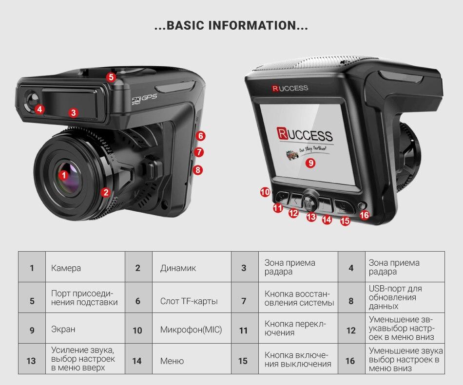 Original Ruccess 3 in 1 Radar Dvr  FHD 1296P Built-in GPS Car Detector Dual lens Car Camera Anti Radar Detector Russian Speedcam 22