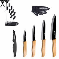 Unique Design XYj Brand Kitchen Knife 6 Pcs Set Peeler Cooking Accessories Exquisite Knife Block Bamboo