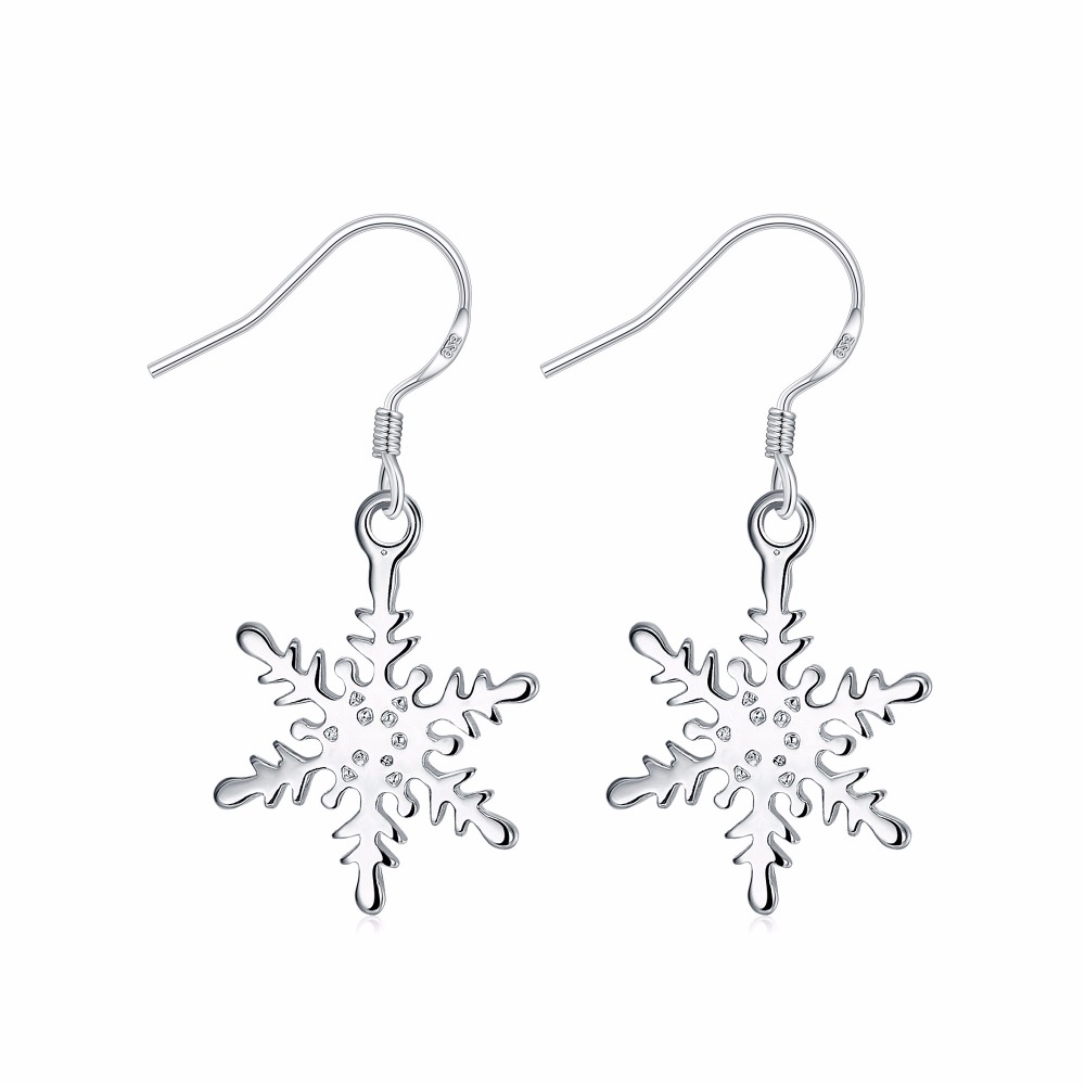 Fashion Christmas Gifts 925 Sterling Silver Jewelry Classic Snowflake Style  Smooth Surfaces Women's Silver Earrings(