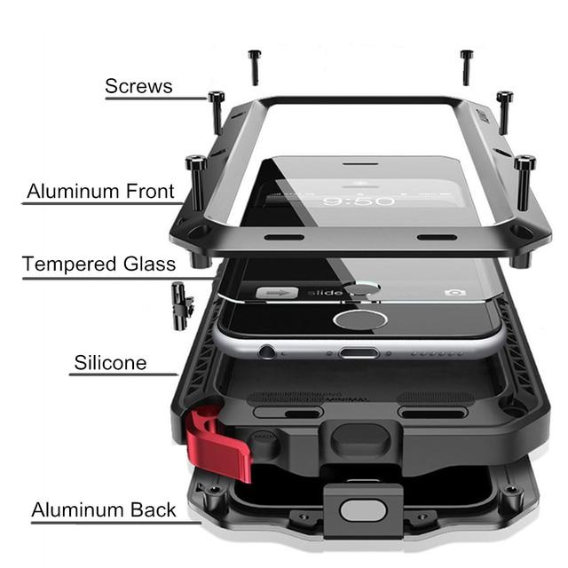 יוקרה שריון חיים הלם Dropproof עמיד הלם אלומיניום הסיליקון מקרה עבור iPhone 8 7 6 6S בתוספת X Xs מקסימום xr מתכת מגן כיסוי